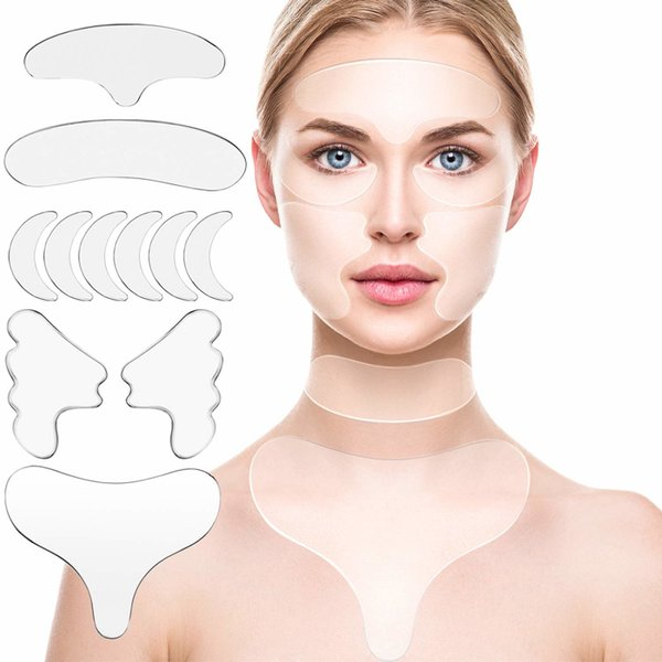 top popular 16PCS  11PCS Reusable Thin Face Stickers Facial Line Wrinkle Sagging Skin Lift Up Tape Frown Smile Lines Forehead Anti-Wrinkle Patch 2021