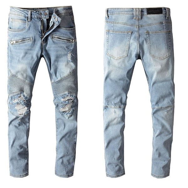top popular 2020 mens jeans Distressed Skinny Ripped Destroyed Trousers Fashion clothes Slim Motorcycle Moto Biker Hip Hop Slim Denim letter Holes Pants 2020