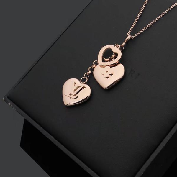 top popular Gold silver rose colors extravagant pendant necklace classic design fashion new titanium steel necklace women jewelry wholesale 2021