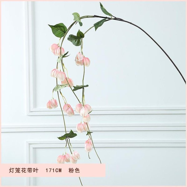 Con hojas flores linternas rosa