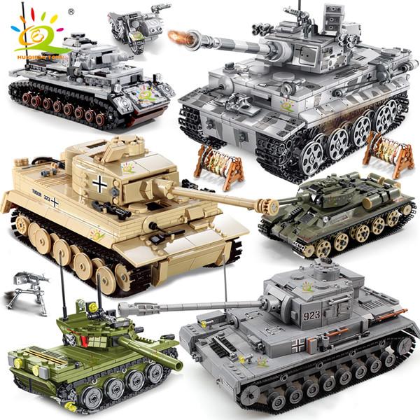 best selling HUIQIBAO Military German King Tiger Tank model Building Blocks Army WW2 soldier Figures man weapon bricks children Boy Toys Gift 1008