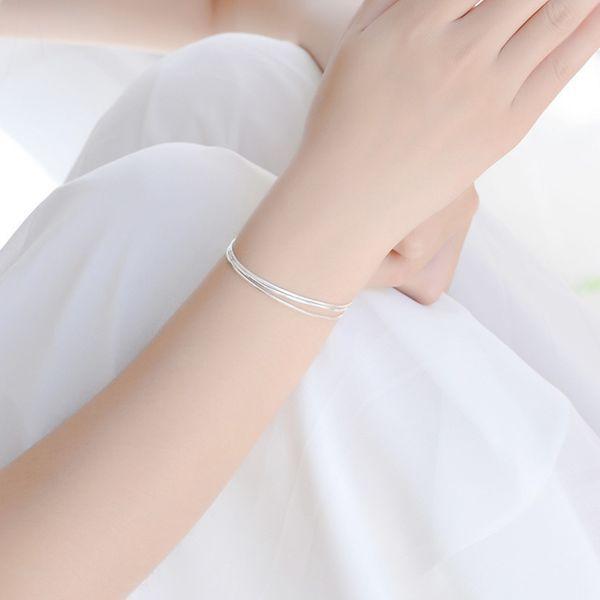 Februaryfrost 925 Sterling Silver Bracelets for Women Three Layers Multi-row Bracelets Bangles Minimalist Korean Style Charm Bracelet Jewelr