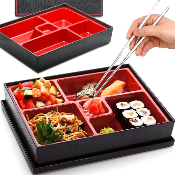 best selling Office Picnic Portable Durable Lunch Box Bento Box ABS School Safe Rice Food Containers 5-section Japanese Style Sushi Catering Y0120