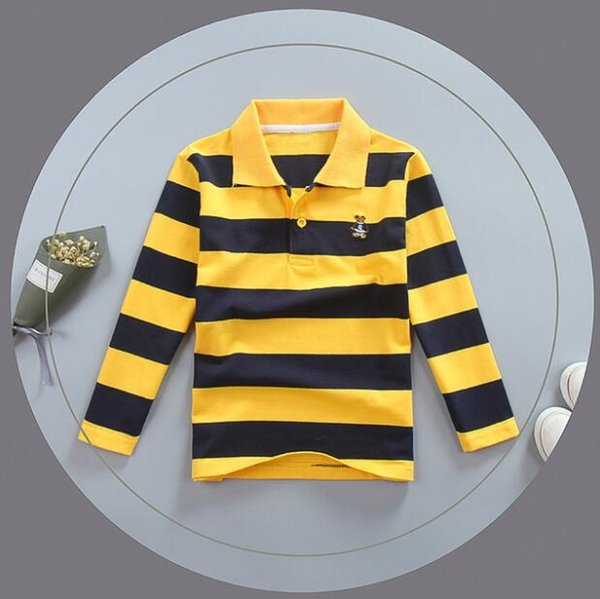 best selling Kids Clothing Tops Polos Designer Boy Clothes Spring And Autumn Pullover Tees Casual Thick Striped Stand Collar