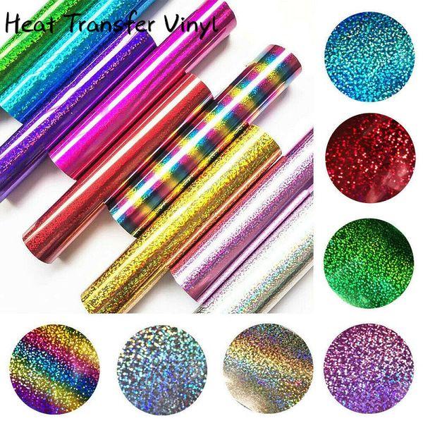 top popular 25*30cm Glitter Heat Transfer Vinyl Sheet Glitter HTV Iron On Vinyl for DIY Cricut T Shirt 8 Vibrant Colors Heat Press HTV Vinyl 2021