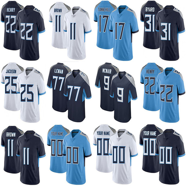 top popular Custom 22 Derrick Henry 48 Bud Dupree 11 AJ Brown Football Jerseys Mens Womens Kids 17 Ryan Tannehill 77 Taylor Lewan 31 Kevin Byard 84 Corey Davis 99 Jadeveon Clowney 2021