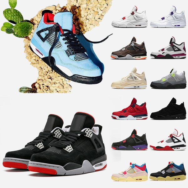 best selling Travis 4 4s Bred Mens Basketball shoes Jumpman Fire Red Sail Black Cat Court Purple Starfish Union Guava Ice Mens Sneakers Trainers