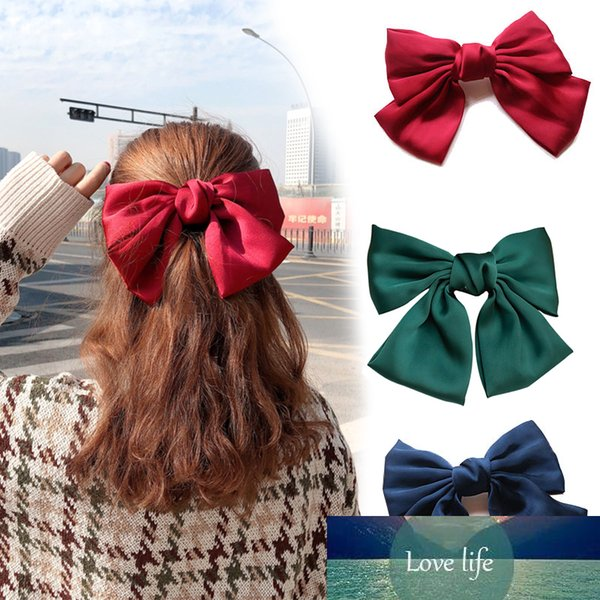 best selling Korean New Chiffon Hairpins Headwear for Women Trendy Girl Solid Color Bow Barrettes Hair Ornament Hairgrip Fashion Jewelry