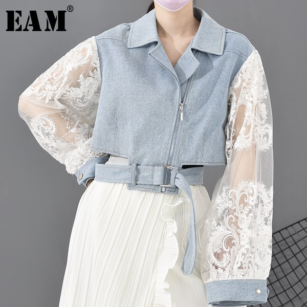 eam] loose fit lace stitch denim bandage short jacket new lapel long sleeve women coat fashion tide spring 2020 1d63805 1014, Black;brown