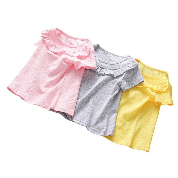 best selling Kids Girls Solid Tops 3 Colors Lace Ruffle Leisure T-shirts Toddler Cotton Casual Big Girls Teens Summmer Clothes Teens Outfits 06210202