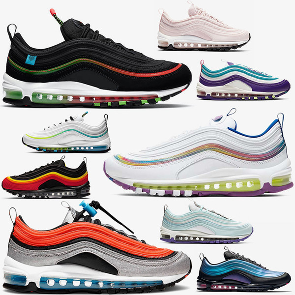 best selling 2020 Fashion Women Mens 97 Running shoes Big size 12 Worldwide Black White Iridescent GS Sky Barely Rose Outdoors Sports Trainers Sneakers