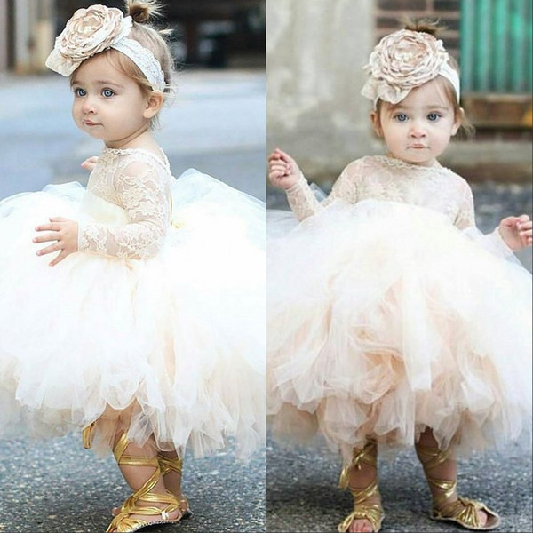 top popular 2021 Vintage Flower Girls' Dresses Baby Infant Toddler Baptism Clothes Lace Tutu Ball Gowns Birthday Party Dress Custom Made 2021