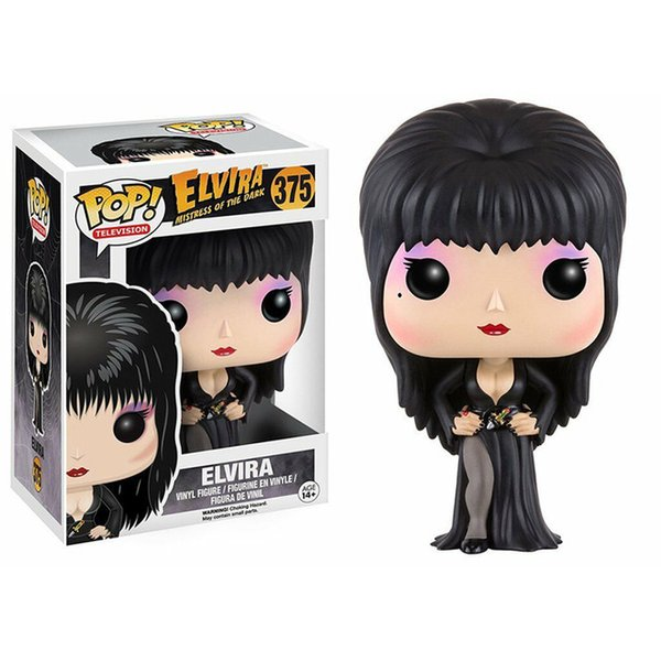 top popular Funko POP Elvira Mistress of the Dark Vinyl Figure Toys 375# Elvira Collection Action Figure Model Decoration Doll Toys X0121 2021