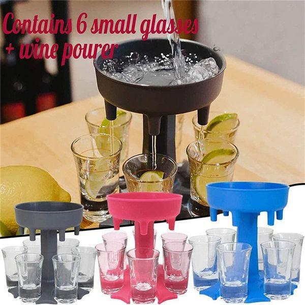 best selling 6 Shot Glass Dispenser Holder Wine Whisky Beer Dispenser Rack Bar Accessories Caddy Liquor Dispenser Party Games Drinking Tools