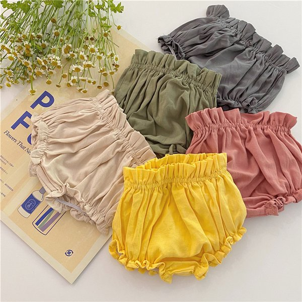 best selling Summer Baby Girls PP Bloomers Korean Fashion Toddler Infant Cotton Solid Ruffles Shorts Pant Newborn Briefs Diaper Cover Bottoms C1105