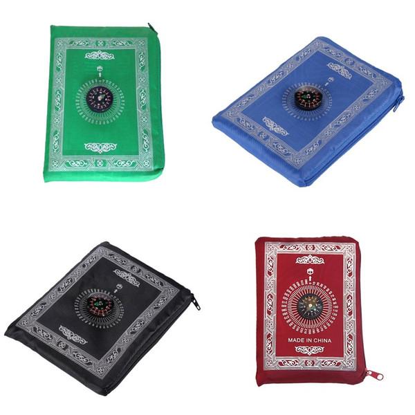 top popular Islamic Prayer Rug Portable Braided Mat Portable Zipper Compass Blankets Travel Pocket Rugs Muslim Prayer Rugs Muslim Worship B 144 K2l 2021