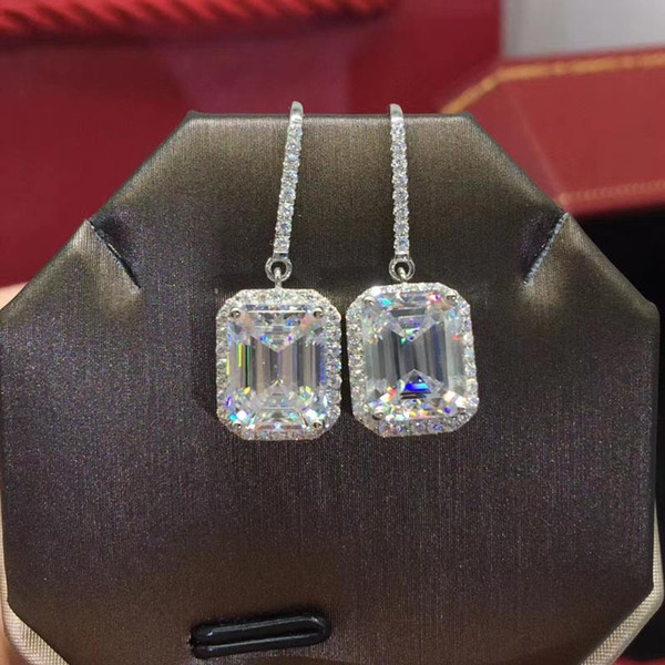 top popular Free Shipping Clearance Sale 925 Sterling Silver White Natural Moissanite Jewelry De Silver 925 Jewelry Drop Earrings for Women 2021