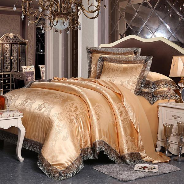 best selling 2020 New Golden Jacquard Home Textile Bedding Set 4pcs Lace Quilt Duvet Cover Flat Sheet Set Pillowcases Queen King Size