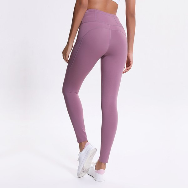 top popular Autumn and Winter New Yoga Pants Women's Elastic Double-sided Thin High Waist Pants Splicing Pocket Sports Running Capris 2021