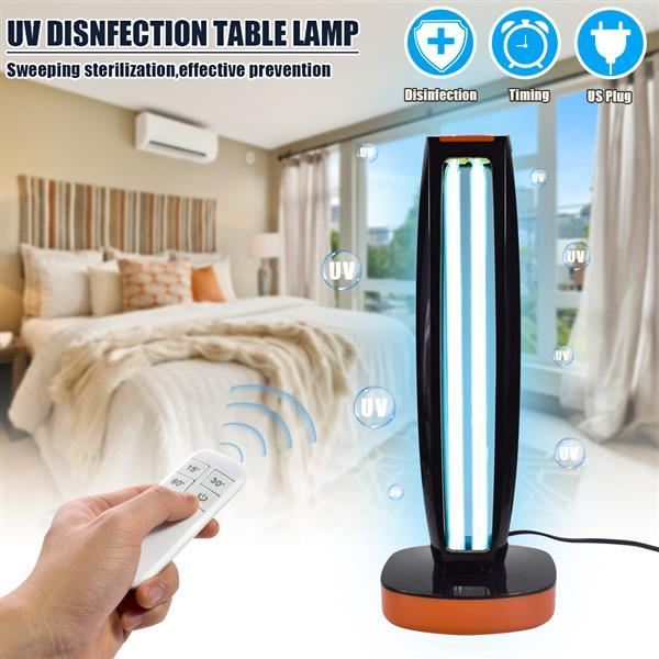 best selling 38W 110V Wireless Remote Control Ultraviolet Sterilization Lamp Blue Light Power Cord 1.5 Meters Long Color Black For Office, Living room