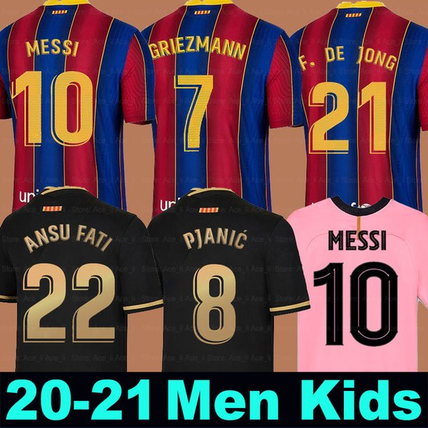 best selling FC BARCELONA soccer jersey 20 21 camiseta de futbol ANSU FATI 2020 2021 Messi GRIEZMANN DE JONG PJANIC COUTINHO Men Kids kit football shirt