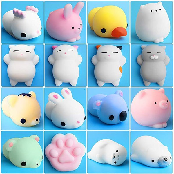 best selling 16 Pcs Toys Stress Relief Animals Mochi Cat Squishy with Felt Bag