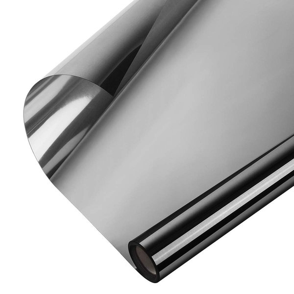top popular 50 by 200 cm Black-Silver Self Adhesive Sticker Vinyl One Way Vision Mirrored Effect Window Tint Film UV Rejection Heat Control Y200421 2021