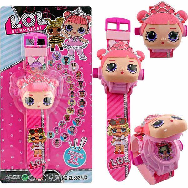 best selling Cute cartoon doll watch 24 pattern projection flip electronic watch children wear toy table lol Kids toys