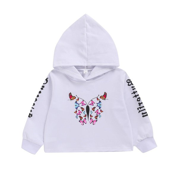best selling Children's long sleeve top butterfly print Hoodie girl's white Pullover Princess Sport Style Long Sleeve Top