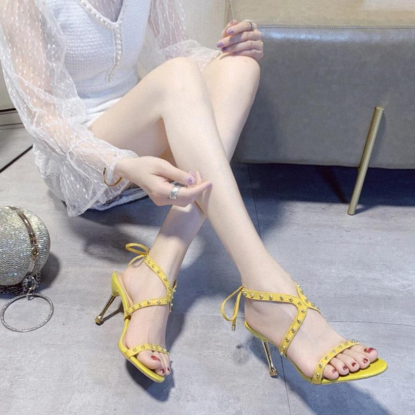 top popular Rivet Thin Heel Sandals Women Sexy Party Stiletto Heels Summer Ankle Strappy Pointed Toe Open Toe High Heel Sandals Women 2020 e495# 2020