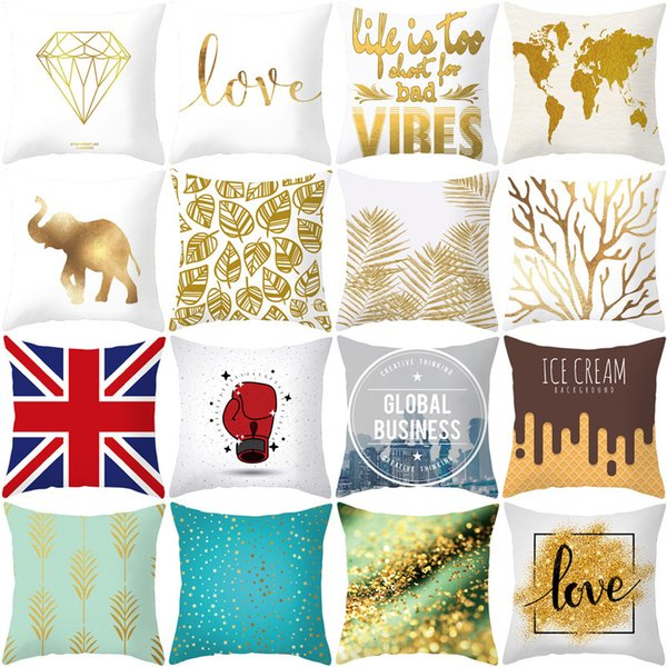 top popular Cover Sofa Cushion Pillow Home Cover Textile Art Simple Gold Digital Printing 2021