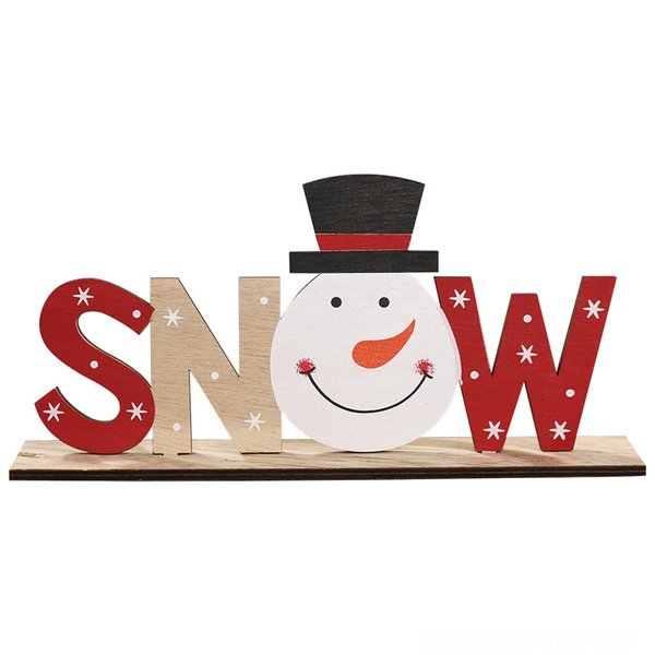 Wooden Printed Letter Ornament Snow Man