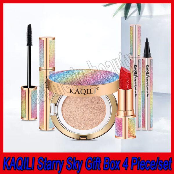 best selling .2020 New Makeup set KAQILI Starry Sky Gift Box 4-Piece Eyeliner Mascara Cushion Cosmetic Set Carved Lipstick