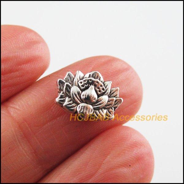 Ювелирные изделия моды 25new Lotus Charms Tibetan Серебряный Цвет Цвет Цветочницы Бусины 8.5x12mm Бусины Ювелирные Изделия Аксессуары