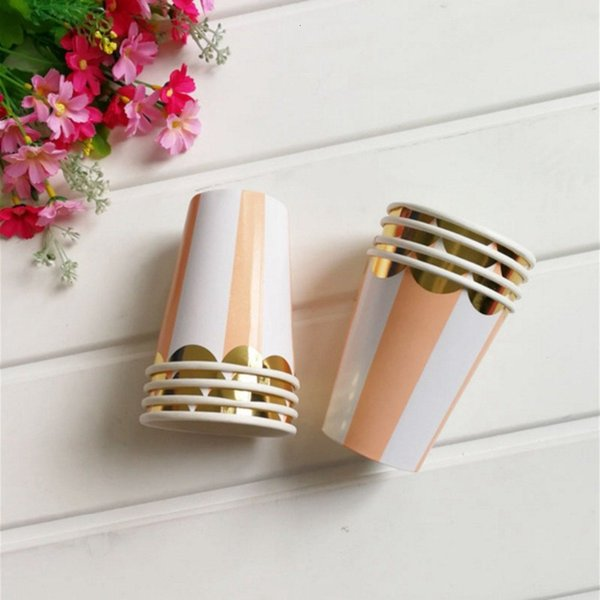 best selling Cup Stamping Orange Striped Paper 8pcs Supplies Hot Children's Birthday Holiday Graduation Wedding Universal P
