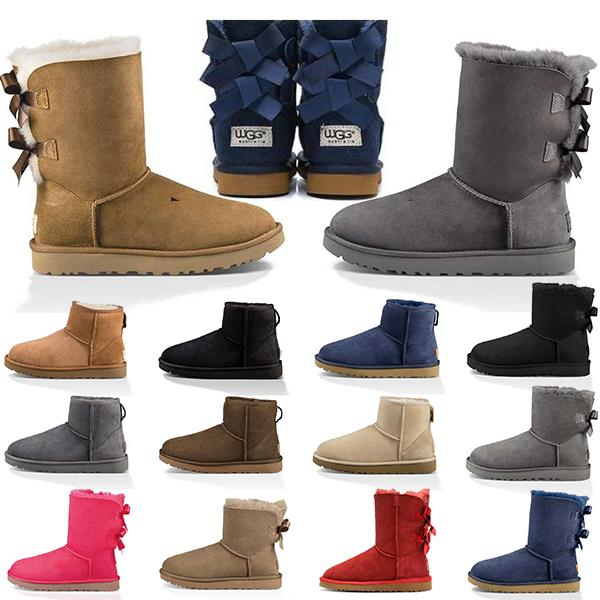 top popular Cheap Womens Boots Snow Booties Classic Short Ankle Knee Black Grey Brown Red Pink Blue Women Winter Boot Keep Warm Size 36-41 2020