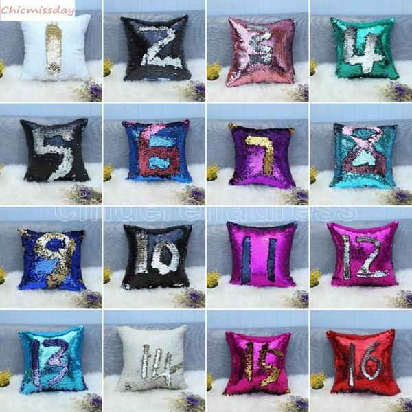 32 Colors Glitter Sequin Pillowcase Mermaid Cushion Cover Pillow Magical Throw Pillow Case Home Decorative Car Sofa Pillowcase