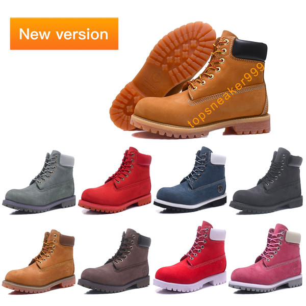 top popular 2020 New Verson Classic Man Yellow Boots Black Brown Size 36-45 Premium Wheat Nubuck Winter Boots Red Blue Pink Women Boots 2021