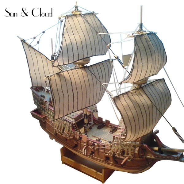 best selling 1:100 3D England Golden Hind Galleon Ship Boat Paper Model Assemble Hand Work Puzzle Game DIY Kids Toy Y200428