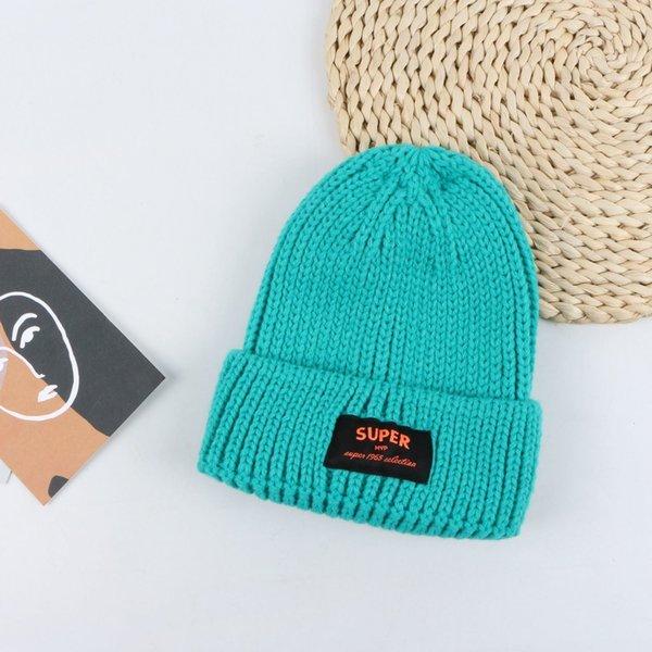 Sombrero de lana de etiqueta de súper tela - lago azul