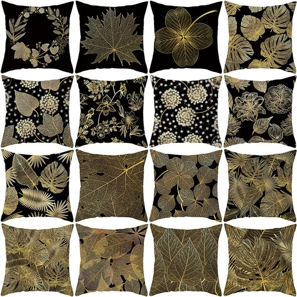 best selling Pillow Home Products Leaf Black Gold Cover Office Cushion Cover Waist Pillow Cover