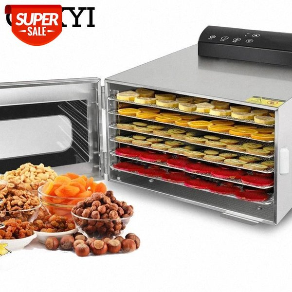 best selling CUKYI 6 Trays Food Dehydrator Snacks Dehydration Dryer Fruit Vegetable Herb Meat Drying Machine Stainless Steel 110V 220V EU US #3N0Y