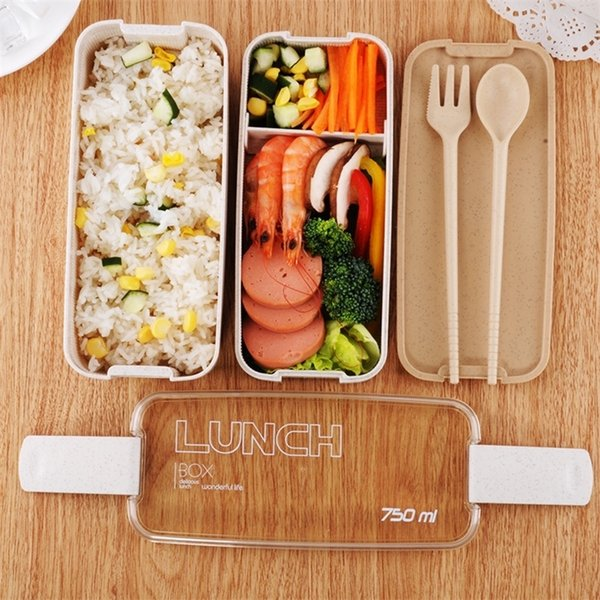 top popular 750ml Portable Healthy Material Lunch Box 2 Layer Wheat Straw Bento Boxes Microwave Dinnerware Food Storage Container Food box 201210 2021