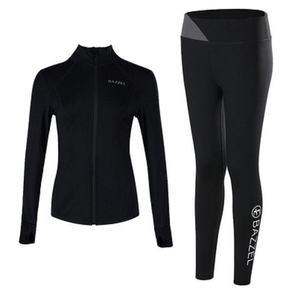 Zweiteiliger schwarzer und grauer Mantel und Hosen