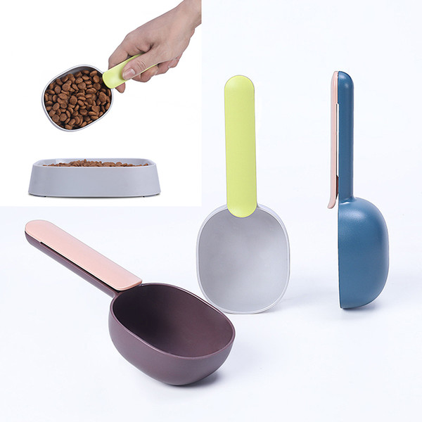 top popular Pet Food Scoop ABS plastic pet Dog cat bird scoop feeders with handle clip home pet supplies Dog food shovel spoon Cat Food Shovel 2021