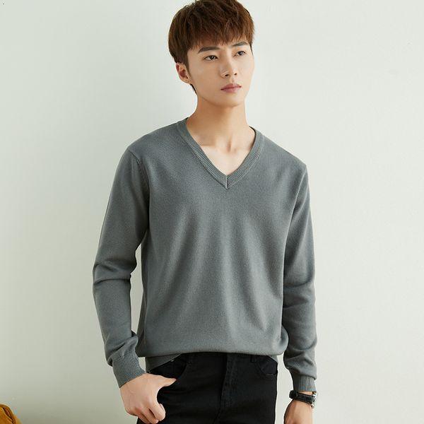 Cuello en V gris premium