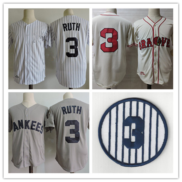 top popular Mens Babe Ruth Jerseys Stitched White Pinstripe grey navy #3 Babe Ruth retirement Patch Jersey S-3XL 2021