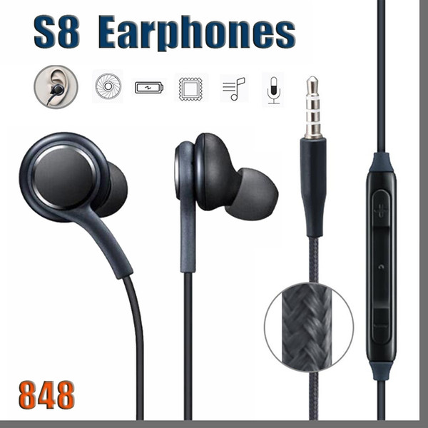 best selling 848 DHL S8 Headset Genuine Black In-Ear Headphones Earphones Handsfree For Samsung Galaxy S8 Plus DHL