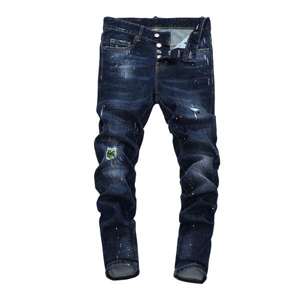 top popular Hot Rock Men Jeans Pants Skinny Distress Jeans Denim Trousers Slim Fit Designn Moto Knee Holes Pants Hip Hop Streetwear Knee Broken Holes-23 2021