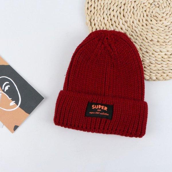 Tapa de lana de etiqueta de súper tela - Rojo del vino
